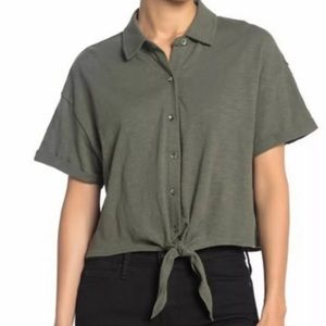 SPLENDID MILITARY OLIVE GREEN CROPPED TIE TOP NEW